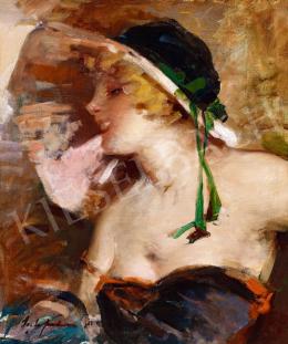 Vígh Bertalan - Randevú előtt (Szőke lány kalapban), 1930 körül