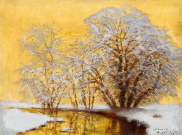 Mednyánszky László - Téli folyópart esti fényekkel