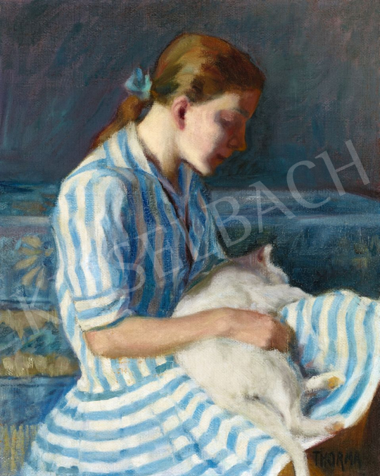 Thorma János - Kislány kék-fehér csíkos ruhában (Kislány macskával), 1927 | 56. Őszi Aukció aukció / 61 tétel