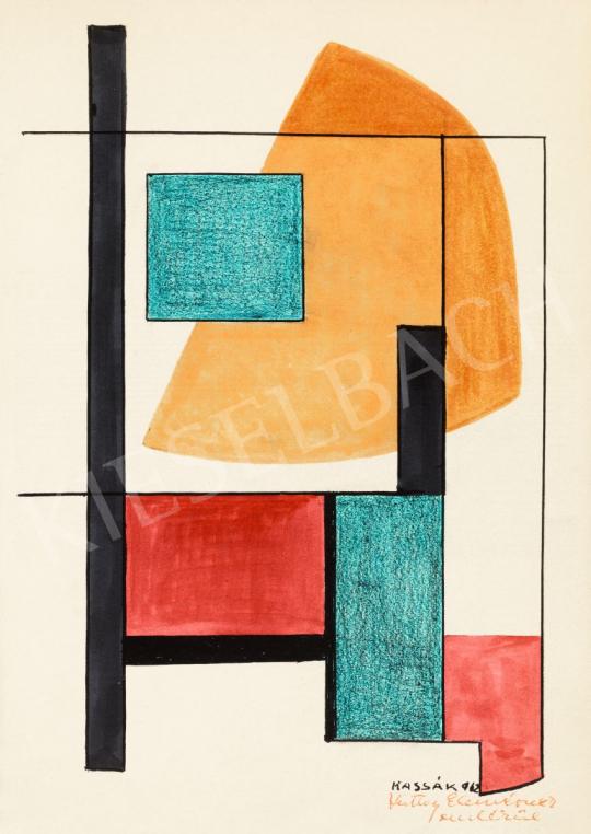 Kassák Lajos - Konstruktív kompozíció ívelődő formával, 1962   56. Őszi Aukció aukció / 89 tétel
