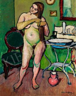 Pólya Tibor - Fésülködő akt műteremben, 1910