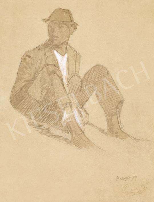 Mednyánszky László - 19 rajz - Ülő fiú fehér ingben | 56. Őszi Aukció aukció / 192 tétel