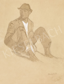 Mednyánszky László - 19 rajz - Ülő fiú fehér ingben