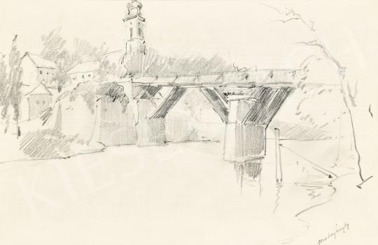 Mednyánszky László - 19 rajz - Folyóparti város híddal | 56. Őszi Aukció aukció / 192 tétel