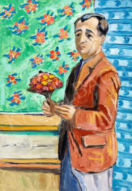 Fenyő György - Önarckép virágmintás tapétával, 1930-as évek