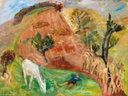 Berény Róbert - Pihenő fiú és fehér ló