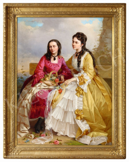 Vastagh György - Fiatal lányok rózsakosárral, atlaszselyem ruhában (Szerelemre vágyódva), 1871
