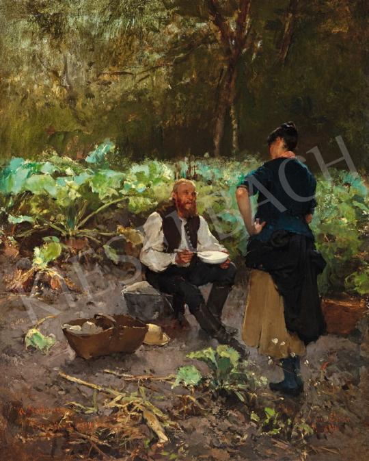 Deák-Ébner Lajos - Beszélgetők (Konyhakertben), 1884 | 56. Őszi Aukció aukció / 15 tétel