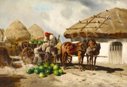 Ujházy Ferenc - Dinnyeszüret után a tanyaudvaron, 19. század második harmada