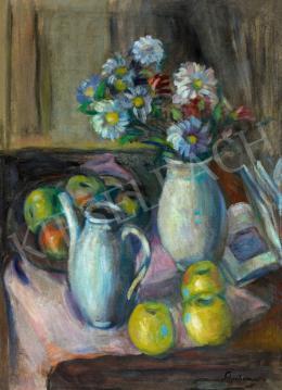 Schönberger Armand - Csendélet könyvvel, almákkal