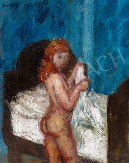Berény Róbert - Vörös hajú modell kék szobában
