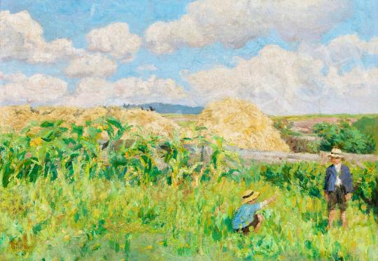 Glatz Oszkár - Virágot szedő gyerekek a napfényes mezőn | 56. Őszi Aukció aukció / 112 tétel