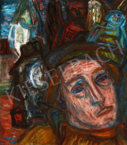 Ámos, Imre - Self-Portrait with Angels and Clock, 1939