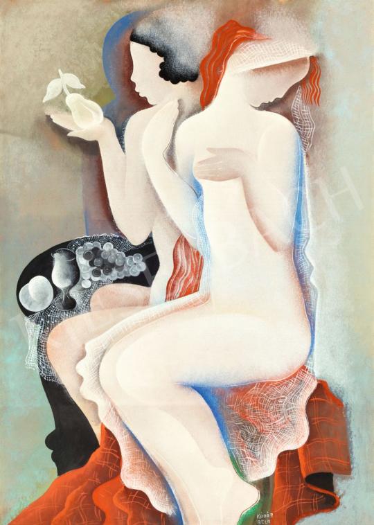 Kádár Béla - Lányok csendélettel, 1931 körül | 56. Őszi Aukció aukció / 185 tétel