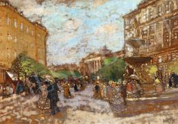 Berkes Antal - A Kálvin tér a háttérben a Nemzeti Múzeummal, 1917