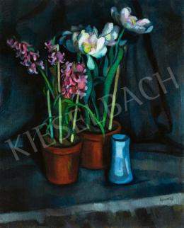 Kmetty János - Műtermi csendélet rózsaszín jácinttal és kék vázával, 1910-es évek eleje