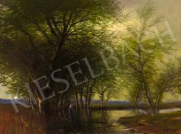 Mednyánszky László - Különleges, átszűrődő fények a patakparton