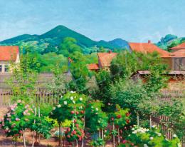 Tagyosi Rátz Péter - Napsütötte nagybányai kertrészlet a Keresztheggyel