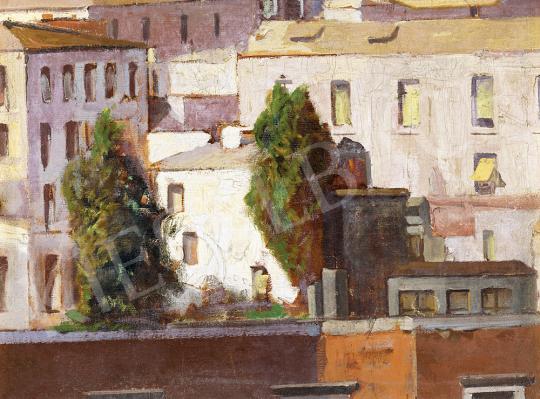 Eladó  Jámbor Lajos - Napsütötte házak festménye