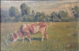 Kieselbach Géza - Nyári mező legelésző tehénnel, 1925