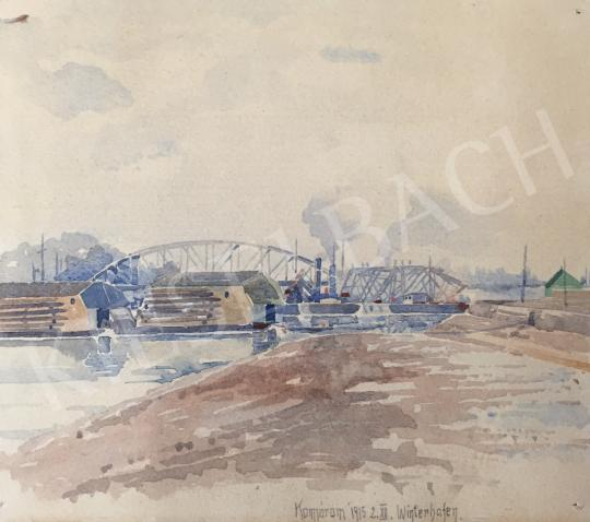For sale  Kieselbach, Géza - View of Bridge in Komárom 's painting