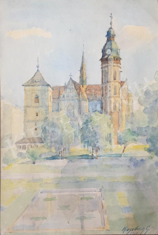 Eladó  Kieselbach Géza - A kassai dóm az Orbán-toronnyal, 1950 festménye