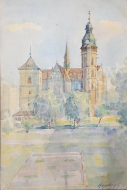 Kieselbach Géza - A kassai dóm az Orbán-toronnyal, 1950