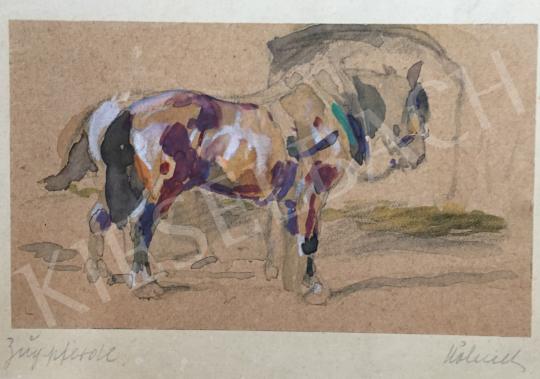 Eladó festő  Wilhelm Höhnel - Ló istállóban festménye