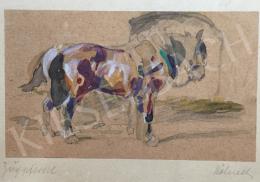 festő  Wilhelm Höhnel - Ló istállóban