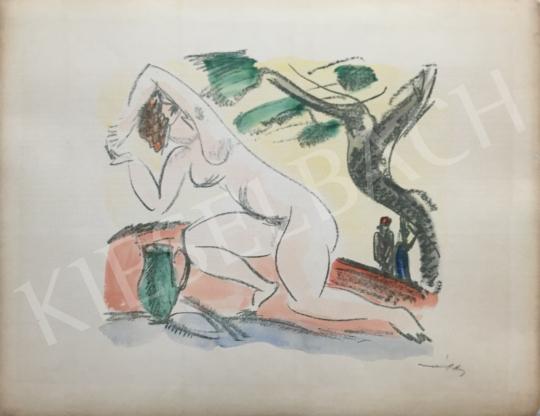 Eladó  Márffy Ödön - Női akt a természetben festménye