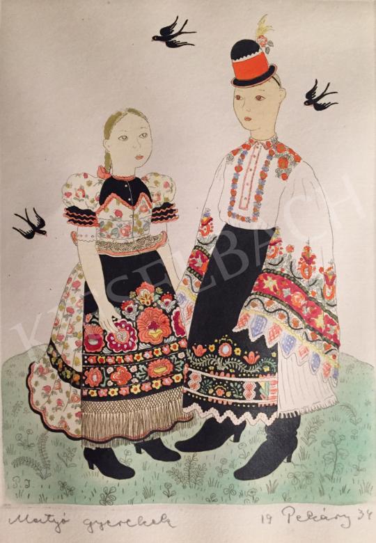 Eladó Pekáry István - Matyó gyerekek, 1934 festménye