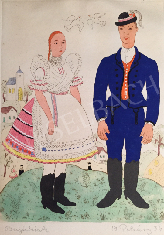 For sale Pekáry, István - Figures in traditional costume, 1934 's painting