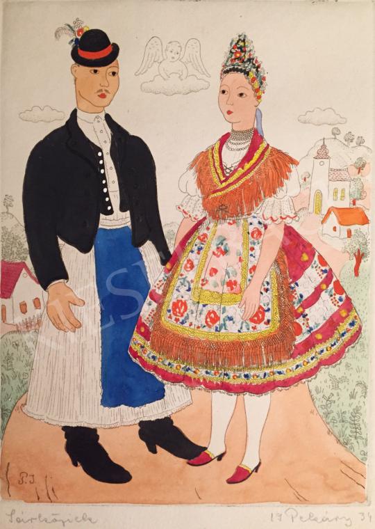 Eladó Pekáry István - Sárköziek, 1934 festménye