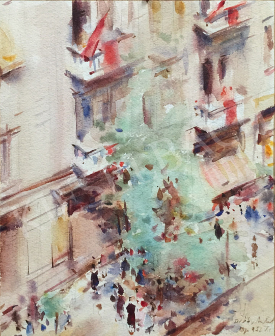 Diósy, Antal (Dióssy Antal) - Budapest Street, 1952 painting