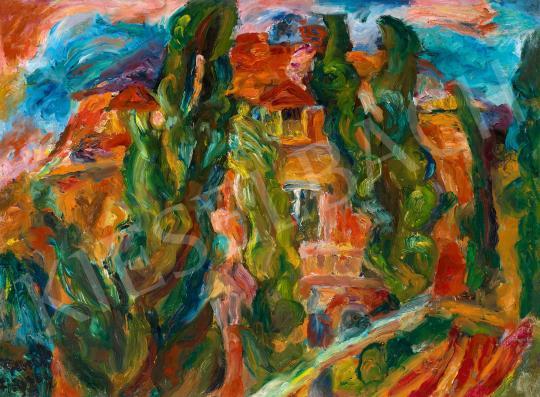 Frank Frigyes - Vörös ház kertje festménye