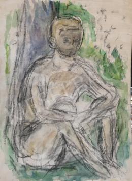 Czóbel Béla - Fa alatt ülő fiú