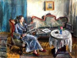 Orosz Gellért - Szobában olvasó hölgy, 1959