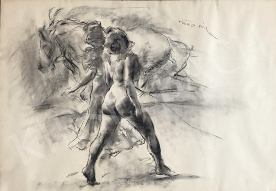 Eladó  Fried Pál - Meztelen női aktok lóval festménye