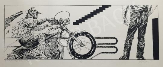 Eladó Helényi Tibor - Szelíd motorosok festménye