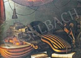Festő Baschenis Evaristo modorában - Asztali csendélet hangszerekkel