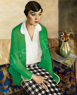 Félegyházi, László - The Checkerd Skirt (Art deco Portrait with a Zsolnay Vase), 1924