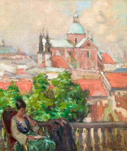 Vaszary János - Mediterrán táj balkonon olvasó zöld ruhás nővel, 1905 körül