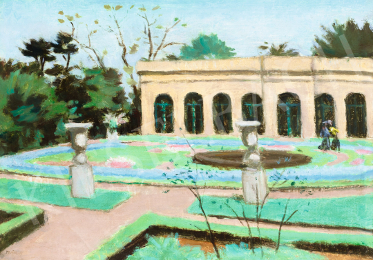 Fényes Adolf - Séta a parkban (Park télikert pavilonjával) | 57. Téli Aukció aukció / 22 tétel