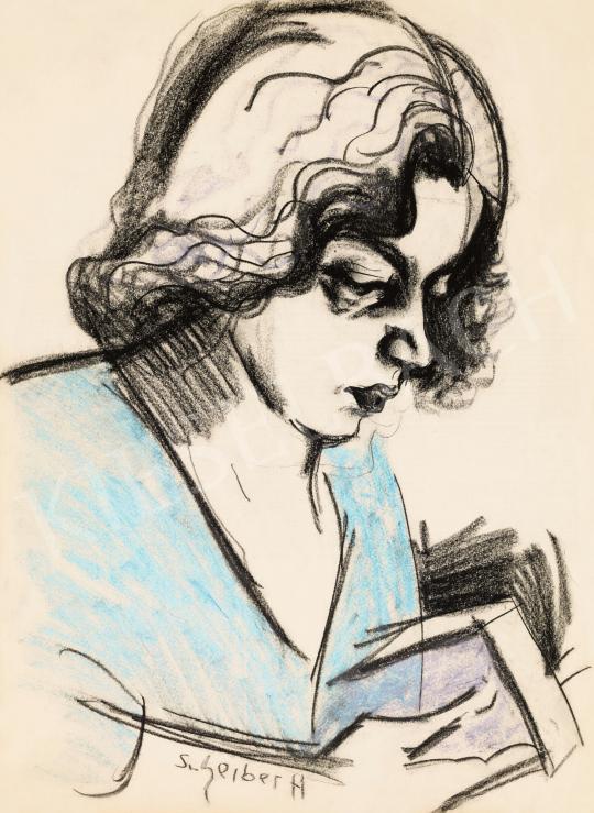 Scheiber Hugó - Olvasó nő (Füst Milánné) | 57. Téli Aukció aukció / 33 tétel