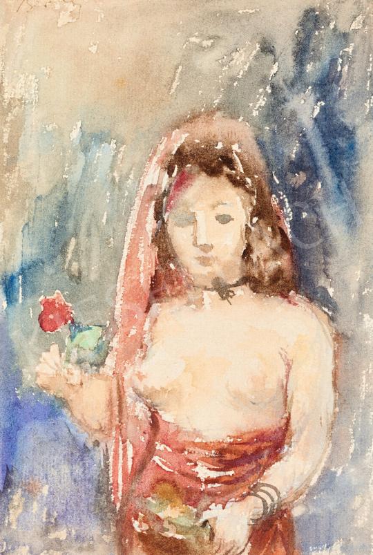 Berény Róbert - Múzsa virággal, 1929 | 57. Téli Aukció aukció / 34 tétel