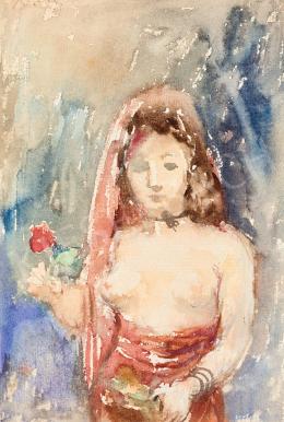 Berény Róbert - Múzsa virággal, 1929