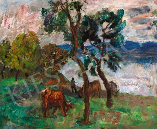 Berény Róbert - Zebegényi táj, 1940-es évek | 57. Téli Aukció aukció / 43 tétel