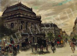 Berkes Antal - Zivatar utáni fények az Andrássy úton (Opera, omnibusz, fiáker), 1922