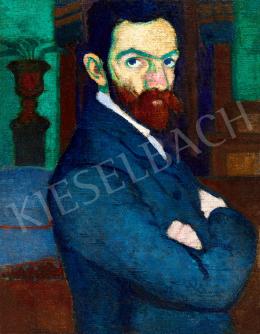 Ziffer Sándor - Önarckép zöld falú nagybányai műteremben festőállvánnyal, 1907 körül