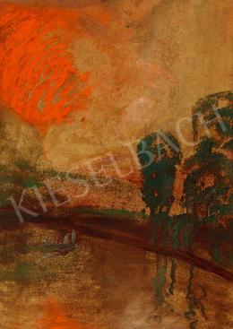 Gulácsy Lajos - Megérkezés (Vöröslő fények a tóparton)